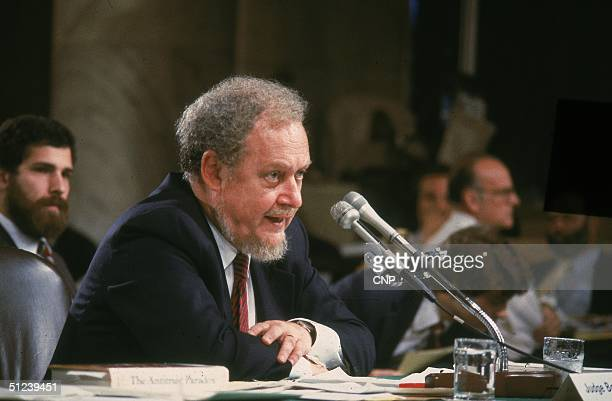 18th September 1987, Reagan nominee for the Supreme Court, Judge Robert Bork, testifies on the fourth day of his Supreme Court confirmation hearing...