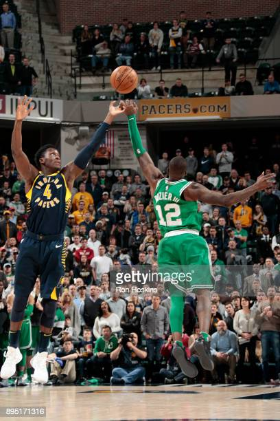 Terry Rozier of the Boston Celtics steals the pass to make the winning points against the Indiana Pacers on December 18 2017 at Bankers Life...