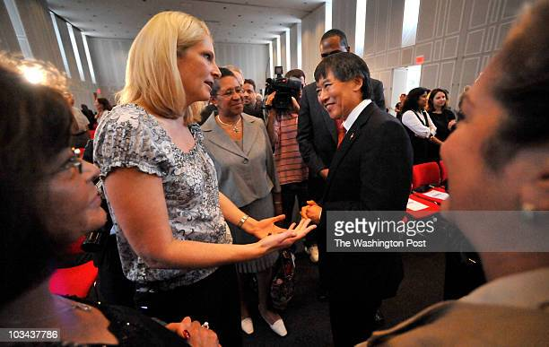 University of Maryland women's basketball head coach Brenda Frese and Dr Wallace D Loh the incoming president of the University of MarylandCollege...