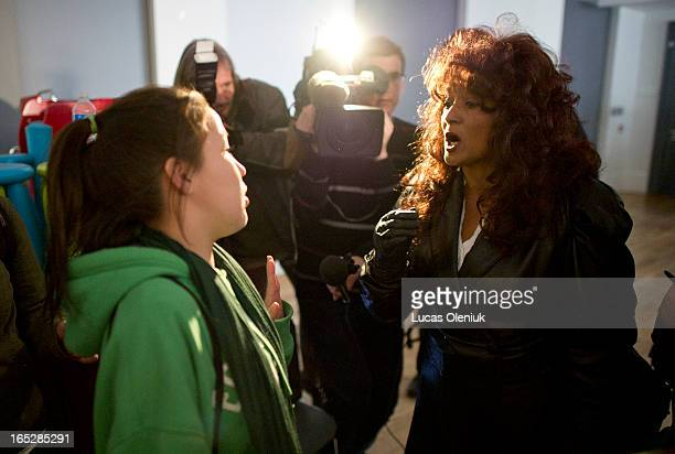 18yearold Angel Wolfe argues with retired dominatrix TerriJean Bedford following a press conference announcing the legalization of brothels Bedford...