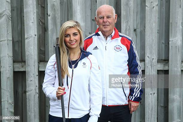 18yr old Amber Hill poses for a portrait with her Grandfather Bill Rogers as she is selected for the Team GB Shooting Team for Rio 2016 Olympic Games...