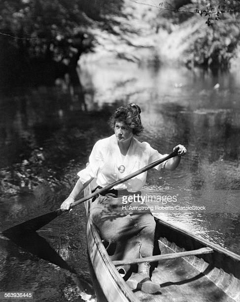 1900s 1910s WOMAN PADDLING...