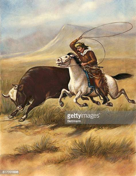 Cowboy lassoing a steer on the prairie Lithograph