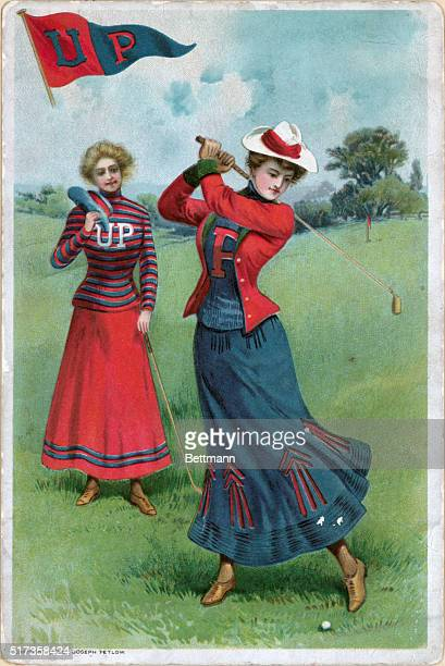 Two girls playing golf. After a colored lithograph, 1903.