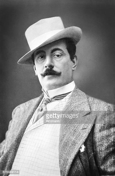Formal waist up portrait of Italian opera composer, Giacomo Puccini, .