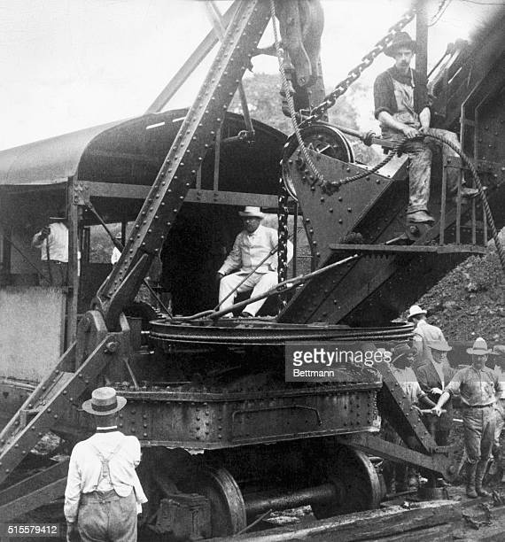 President Theodore Roosevelt operating a steam shovel at Culebra Cut Panama Canal Photograph 1906