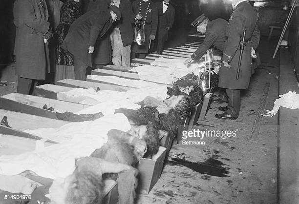 Traingle Shirt Waist fire disaster A line of people identifying lifeless bodies of the victims