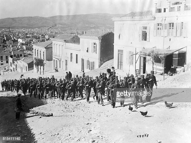 1912Greek troops are shown during the Balkan War