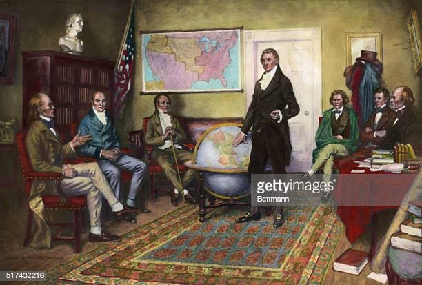1912Painting by Clyde De Land of the birth of the Monroe Doctrine John Irving Adams William Harris Crawford William Wirt President James Monroe John...