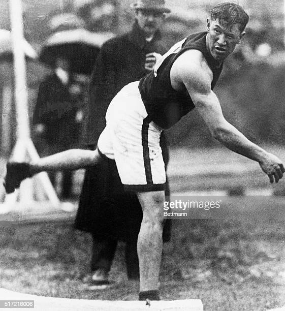 Stockholm, Sweden: Jim Thorpe throws the shot put during the 1912 Olympic Games in Stockholm. He won the decathlon and pentatlon at the games, taking...