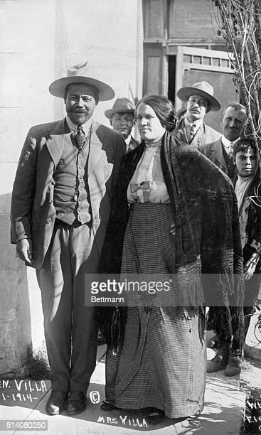 Pancho Villa and his wife at Juarez, 1914. Photograph.