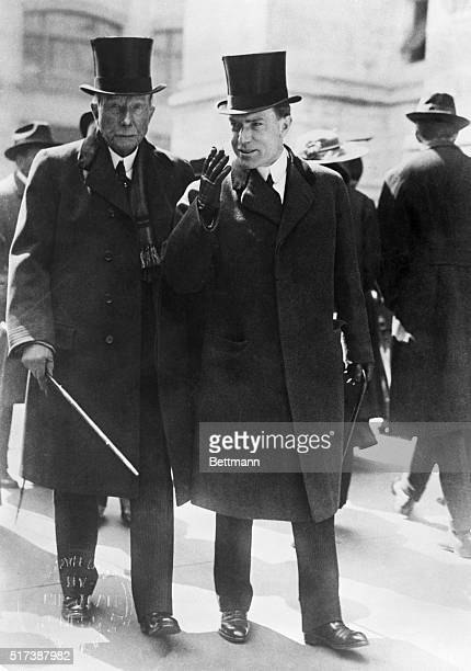 1915John D Rockefeller Sr walking with his son John D Rockefeller Jr Photograph 1915