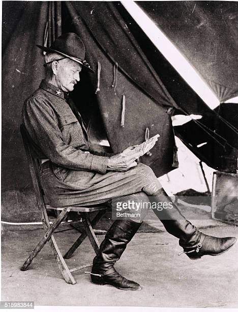 1916General John Pershing is shown reading his newspaper in Mexico during the time when he commanded forces chasing Pancho Villa