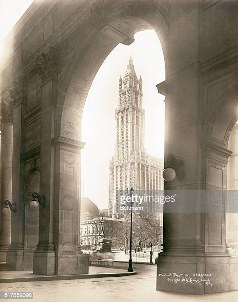 The Woolworth Building as seen through the arch of the Municipal Building