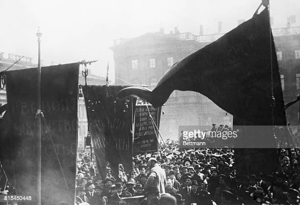 1917Petrograd Russia Lenin addresses crowd in Petrograd during the early days of the revolution