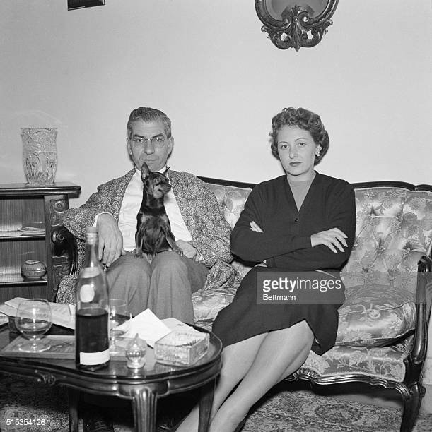 1/9/1955Naples Italy Charles Lucky Luciano alleged onetime US vice king poses at his Naples home with his wife Igea Lissoni Deported to Italy he's...
