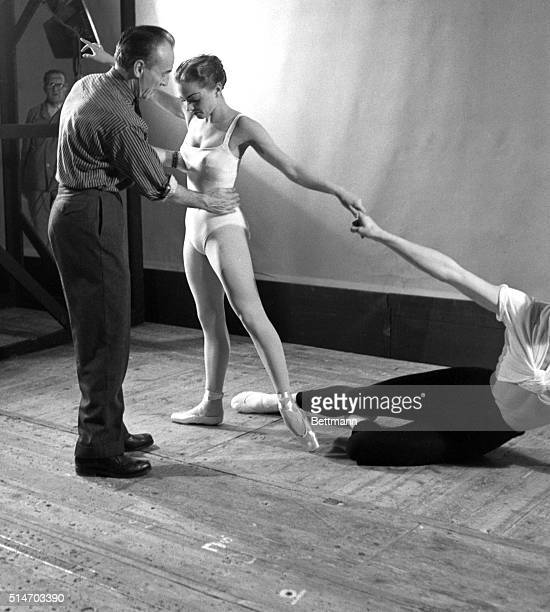 1/9/1957Copenhagen Denmark Famed American Coreographer George Balanchine instructs ballerina Meter Mollerup during rehearsals for the ballet 'Appolon...