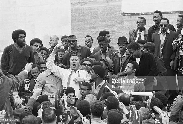 Los Angeles, CA: Rep. Adam Clayton Powell gestures as he gets a point across during his tour of the Watts area of Los Angeles 1/9. Powell,...