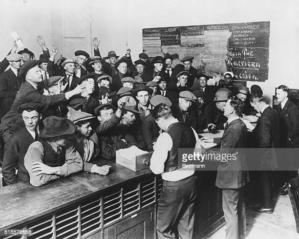 Unemployment after World War I Employment office in Los Angeles set up by American Legion Photograph 1919