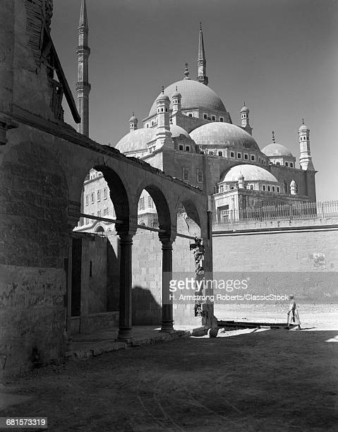1920s 1930s CAIRO EGYPT ARCHITECTURAL VIEW OF THE MUHAMMAD ALI ALABASTER MOSQUE IN THE CITADEL BUILT IN 1840s