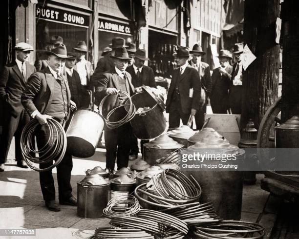1920s 1930s REVENUE AGENTS RAID HARDWARE STORE DISPLAY ITEMS CONFISCATED FOR ALCOHOL STILL DURING PROHIBITION SEATTLE WASHINGTON