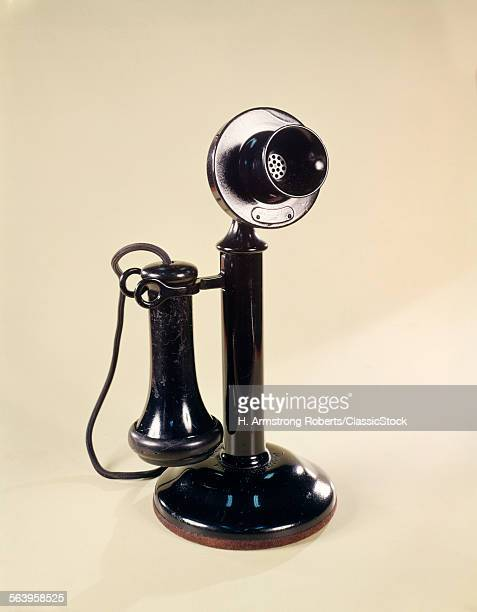1920s BLACK ANTIQUE CANDLESTICK TYPE TELEPHONE