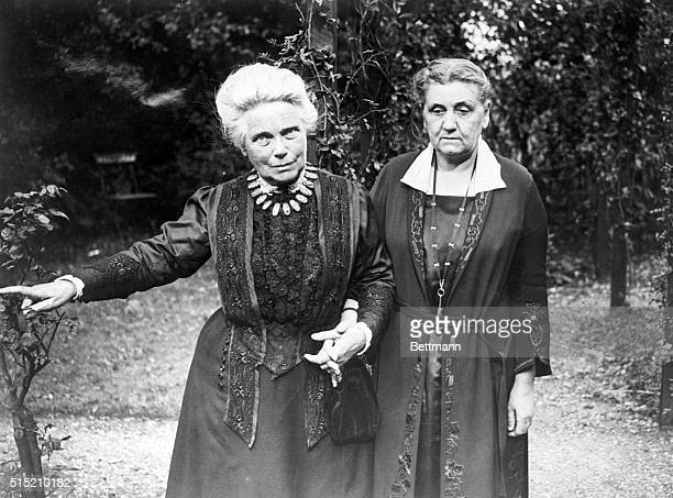 Miss Jane Addams the Chicago social worker and reformer shown here with Mrs Barnett the prominent social worker of London They are in Mrs Barnett's...