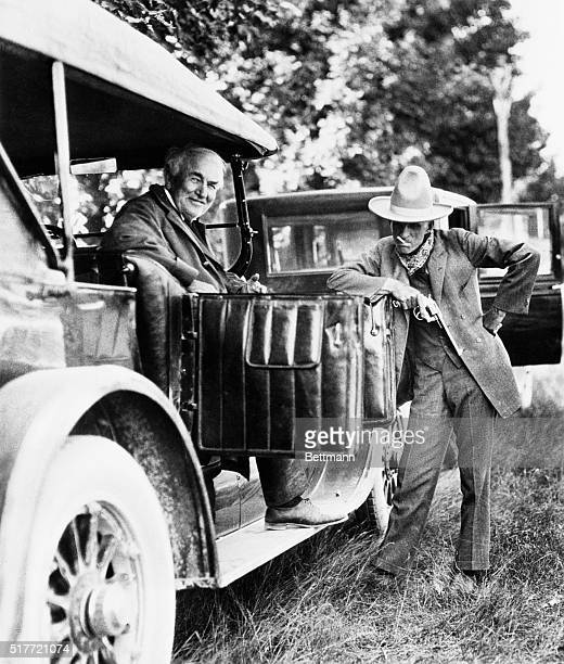 Dearborn, MI: Henry Ford, the late automotive pioneer, poses with his inventor friend, Thomas A. Edison.