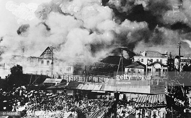 Tokyo, Japan: General view as conflagation sweeps the Ginza district of Tokyo. Thousands were trapped by flames as earthquake demolished Buildings.