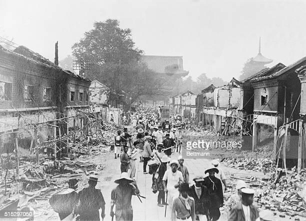 1923Tokyo JapanDebris littered streets in Tokyo Japan Snapped as homeless victims trekked dismally back into the ruined area to view all that...
