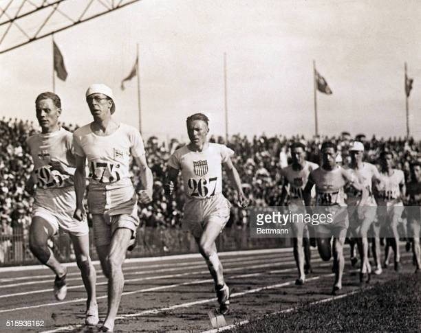 1924Paris France Paavo Nurmi of Finland prepares to take the lead at the finish of the 3000 meter Olympic race