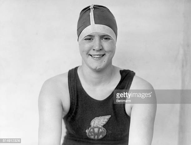 Portrait of American swimmer Gertrude Ederle Gold and Bronze medal freestyle swimmer in the 1924 Olympics in Paris She went on to set a new world...