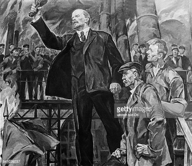 1870 1924Politiker UdSSRhält eine Rede an Arbeiter einer FabrikGemälde von Konstatntin Filatow Aufnahme 1971