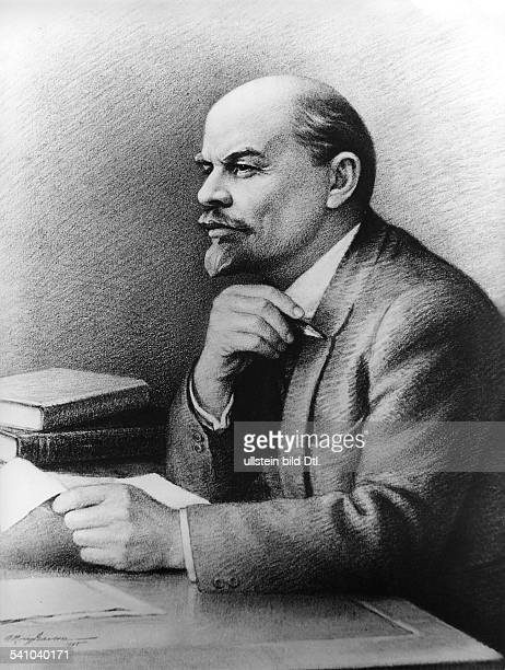 1870 1924Politiker UdSSRPortrait am SchreibtischZeichnung von A KrutschinAufnahme 1967