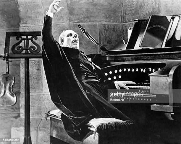1925Lon Chaney is shown in 'The Phantom of the Opera' seated and playing at the organ Movie still