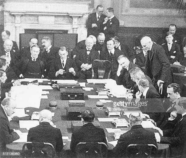 1925London England This exclusive photo shows the signatories of the great Locarno Peace Pact after the signing