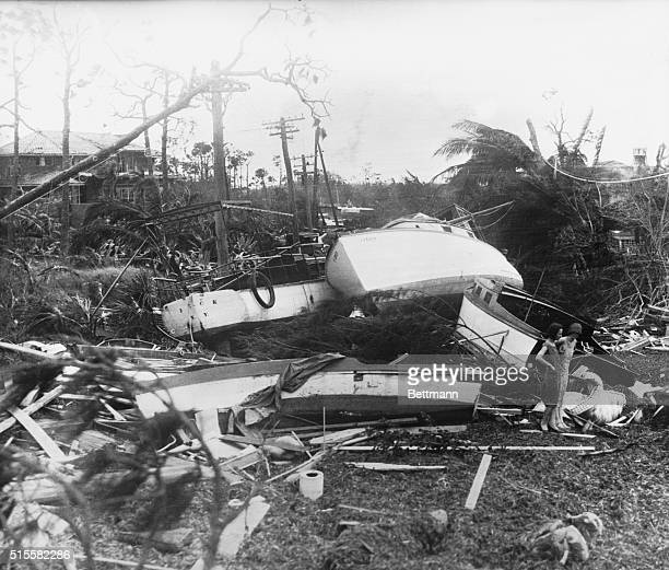 Miami River shipping large and small craft alike were left in a twisted mass by the disatrous hurricane which devastated thousands of square miles...