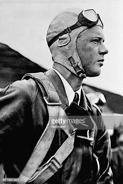 Charles Lindbergh in his flying gear shortly before takeoff in 1927.