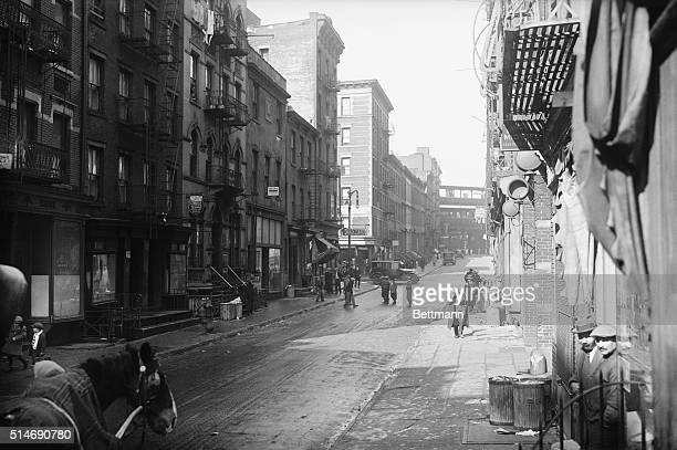 View of Oliver Street on the Lower East Side looking west on which Alfred E Smith lived as a boy