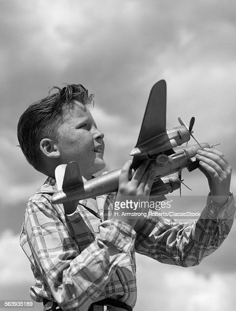 1930s 1940s 1950s PROFILE FRECKLE-FACED BOY HOLDING MODEL PROPELLER AIRPLANE