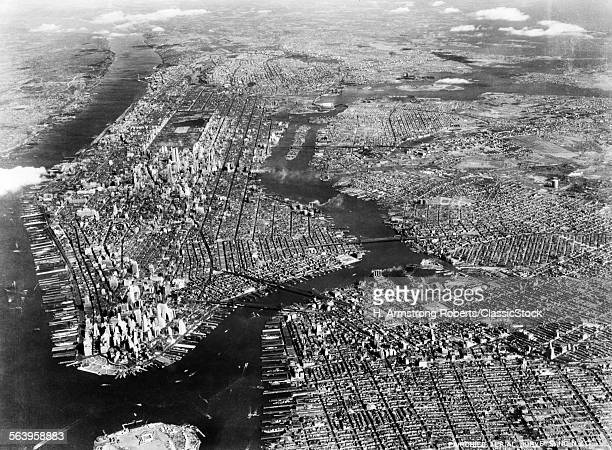 1930s 1940s AERIAL VIEW...