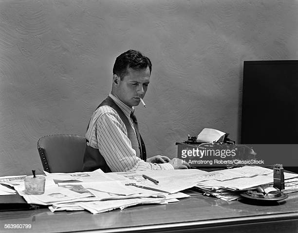 1930s 1940s BUSY MAN IN...