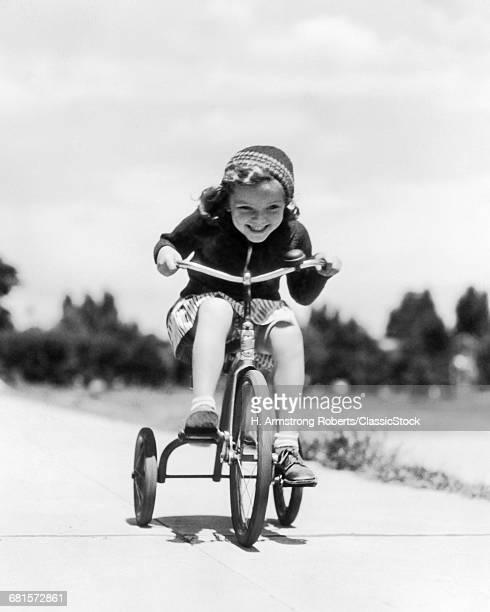 1930s 1940s GIRL RIDING...