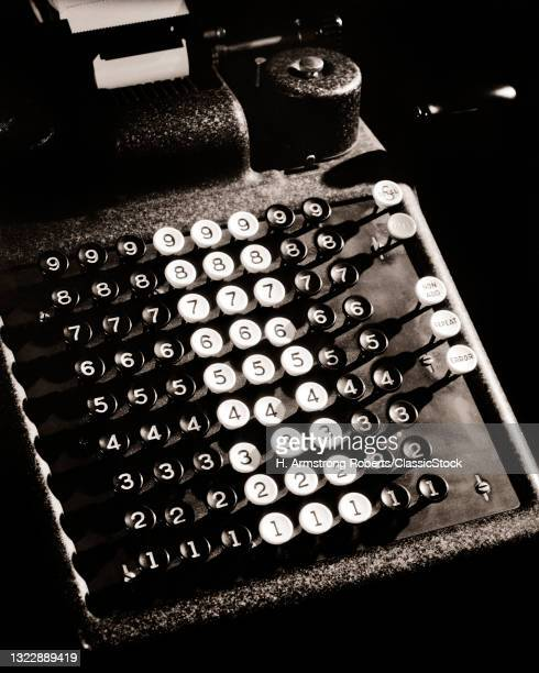 1930s 1940s Keyboard Of Mechanical Adding Machine Or Calculator ed For Bookkeeping And Accounting With Paper Tape Printer.