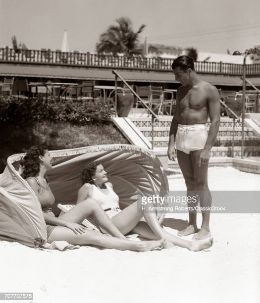 1930s 1940s MAN BATHING...