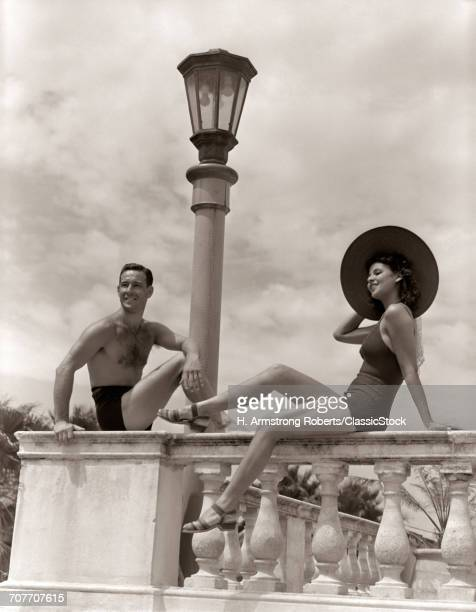 1930s 1940s MAN WOMAN SUN...