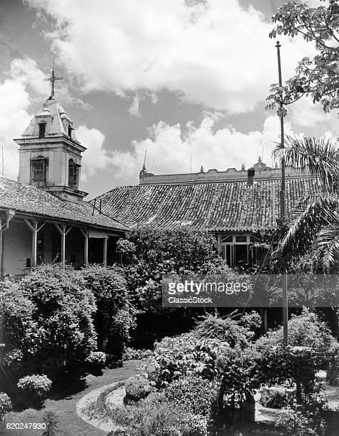 1930s 1940s PATIO GARDEN OF SANTA CLARA CONVENT HAVANA CUBA