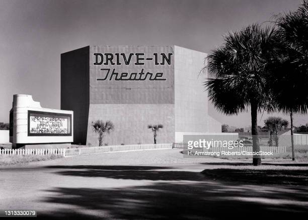 1930s 1940s The Victory Drive-In Movie Theatre Torn Down 1978 For A Strip Mall Wuthering Heights On Marquee Savannah Georgia USA.