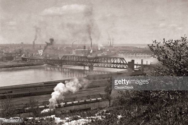 1930s 1940s View Of The Railroad Yards And Meat Packing Plants Along The Kaw River Kansas City Kansas USA .