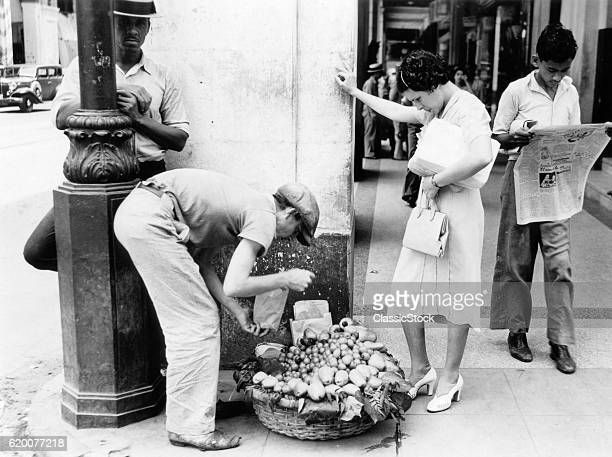 1930s 1940s WOMAN BUYING...